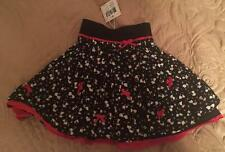 ELIANE ET LENA Girls 2 & 3yrs BLACK KITTEN PRINT FULL SKIRT - STUNNING - NWT