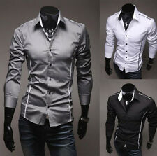 Fashion Mens Luxury Long Sleeve Shirt Casual Slim Fit Stylish Dress Shirts VV
