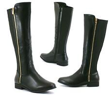 Womens Ladies Knee High Gold Zip Flat Low Heel Riding Boot Long Boot Shoes
