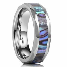 6mm Silver Tungsten Carbide Ring Unisex Wedding Band Abalone Shell Inlay Facete