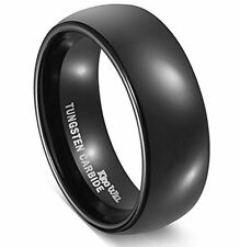 8mm Tungsten Carbide Comfort Fit Black High Polish Classy Domed Wedding Band Rin