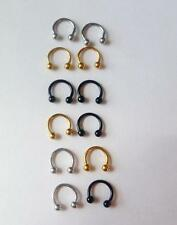 """16g 5/16"""" gold silver black surgical steel Horseshoe eyebrow ring curved barbell"""