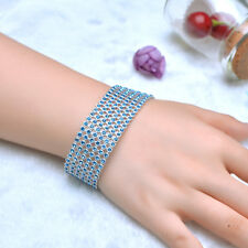 Bling 6 Row Blue Crystal Rhinestone Plastic Bracelet Bangle Wedding Wristband