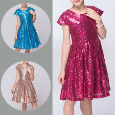 Kids Baby Girls Short Sleeved Sequin Shining Pageant Party Princess Dress Skirt