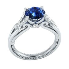 1.15 ct Natural Blue Sapphire & Certified Diamond Solid Gold Engagement Ring