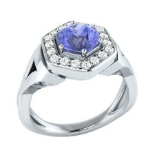 0.80 ct Natural Blue Tanzanite & Certified Diamond Solid Gold Engagement Ring