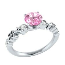 0.69 ct Real Light Pink Sapphire & Certified Diamond Solid Gold Engagement Ring