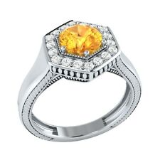 0.75 ct Natural Orange Citrine & Certified Diamond Solid Gold Engagement Ring