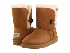 Kid's UGG Australia Bailey Button 5991 K Chestnut Twin face Suede 100% Authentic