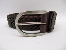 Mens Lacoste 25042 Brown Leather Woven Braided Belt Size 38