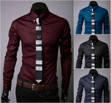 Fashion Mens Luxury Stylish Casual Shirts Slim Fit Dress Shirts Long Sleeve New*