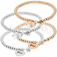 Gold and Silver Tone Stainless Steel Heart Dangle Beads Bracelet Ball Chain
