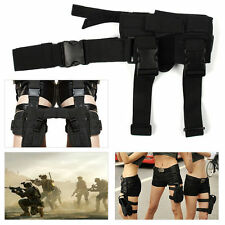 Black Hunting Durable Adjustable Tactical Puttee Thigh Leg Pistol Holster Pouch