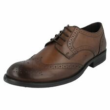 MENS BASE LONDON WAXY BROWN LEATHER LACE UP FORMAL / SMART SHOES - OAK MTO