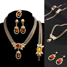 Bridal Ruby Crystal Prom Wedding Jewelry Set Alloy Necklace Earrings Rhinestone