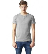 Henley T-Shirt URBAN CLASSICS Grey with button facing Cotton Shirt