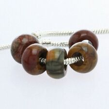 Wholesale Picasso Jasper Gemstone Big Hole European Beads Fit Charms Bracelet