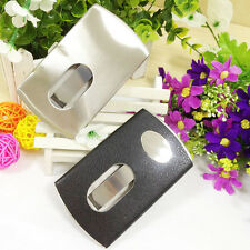 Chic 1PC Thumb Slide Out Stainless Steel Pocket Business Credit Card Holder Case