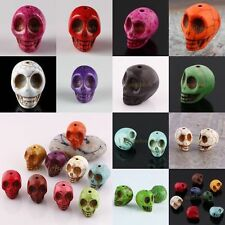 Carved 3D Skull Skeleton Howlite Turquoise Gemstone Loose Beads Jewelry Findings