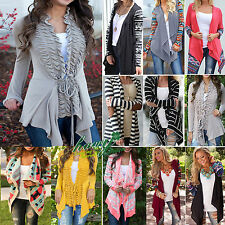 Womens Knitted Open Jumpers Long Sleeve Boho Cardigan Shawl Sweater Coat Tops