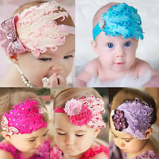 Baby Kids Girl Infant Peacock Feather Flower Diamond Headband Hairdress Hairband