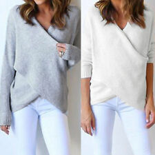 Fashion Women V Neck Cross Knit Top Blouse T Shirt Loose Sweater Jumper Pullover