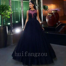 Black Beaded Beading Evening Bridesmaids' Formal Ball Gowns Dresses New Luxury