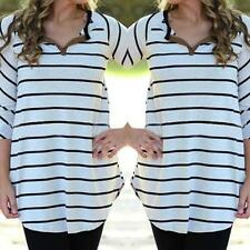 New Fashion Womens Ladies Shirt Casual Long Sleeve Blouse Striped Pullover Tops