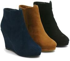 Womens Ankle Boots Ladies Wedge Platforms Side Zip Booties Shoes Size Uk 3-8
