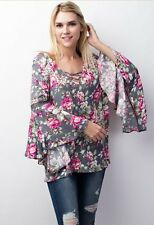 NWT Jodifl Anthropologie Grey Floral Criss Cross Bell Crochet Blouse SZ S-M-L