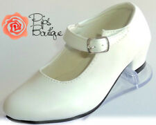 CLEARANCE New Girls Spanish Flamenco Dance Shoes White Childs