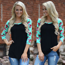 Womens Cotton Blouse Casual Tops Plus Size T-Shirt Loose Blouse Long Sleeve tt
