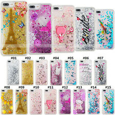 Various Glitter Dynamic Liquid Back Gel TPU Silicone Bling Case Cover For Apple