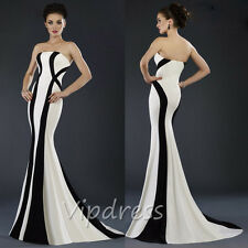 Mermaid Strapless Long Evening Dresses Stripe Woman Formal Prom Gowns Custom New