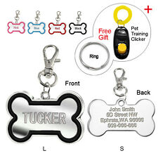 Bone Shape Custom Dog Tags Engraved Cat ID Tags Free Gift Dog Training Clicker