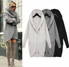 Womens Ladies Woolen Warm Top Casual Long Jacket Hooded Coat Outwear Overcoat