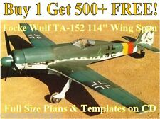 """Focke Wulf Ta152, 114"""" WS Giant Scale RC Airplane Plans & Templates on CD"""