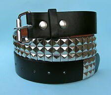 Studded 3 Row Silver Chrome Skate Leather Look Snap on Belt
