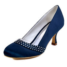 A0718 Navy Blue Round Toe Pump Rhinestones Satin Prom Party Evening Shoes AU4-11