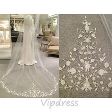 Wedding Veils White Ivory Lace Appliques Bridal Formal Occasion Veils Custom New