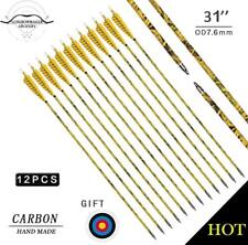 Cool Archery Hunting Yellow Camo Pure Carbon Arrows Compound Recurve Bow Screw