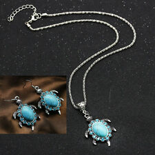 Vintage Blue Turquoise Pendant Chain Necklace Earrings Silver Jewelry Set New
