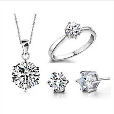 Beauty Wedding Jewelry Set 6 Claw Pendant Earring Ring Real Pure Silver Plated