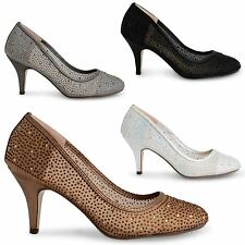 NEW WOMENS LADIES MID HEEL DIAMANTE EVENING BRIDAL PARTY CASUAL COURT SHOES SIZE