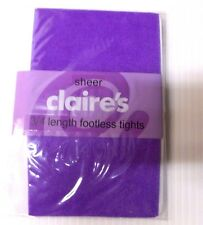 2 X PAIRS Sheer Claire's 3/4 Footless Ladies Tights in VoIlet-Size S/M & M/L-NEW