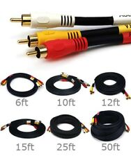 6ft to 50ft 3-RCA 3 RCA Male Audio Video Composite Cable RG59/U Gold Plated