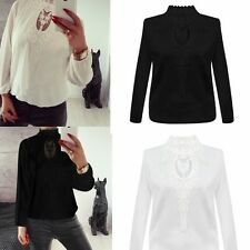 Sexy Womens Chiffon Patchwork Lace Band Collar Long Sleeve Tops T Shirt Blouse