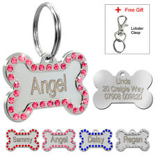 Personalised Dog Tags Engraved Pet ID Tag Stainless Steel Bling Bone Custom Free