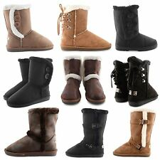 NEW LADIES WINTER BOOTS WOMENS FAUX FUR LINING THICK SOLE LIGHTWEIGHT SHOES SIZE
