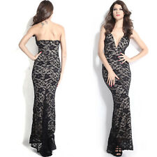 Black Lace Nude Illusion Plunging V Neck Strapless Gown Dress Formal Cocktail